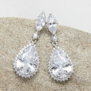 Details About Bridal Teardrop Diamante Cubic Zirconia Drop Dangle Stud Wedding Earrings
