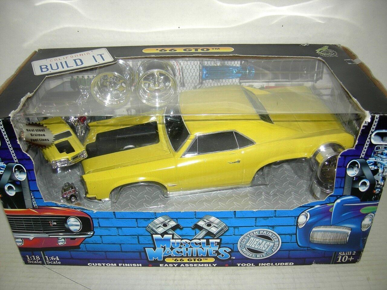 66 GTO PONTIAC YELLOW  BUILD IT EX. RARE  1 18 MIB.