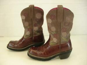 Womens-7-B-M-Ariat-Doll-Baby-Burgundy-Snakeskin-Purple-Suede-Floral-Cowboy-Boots