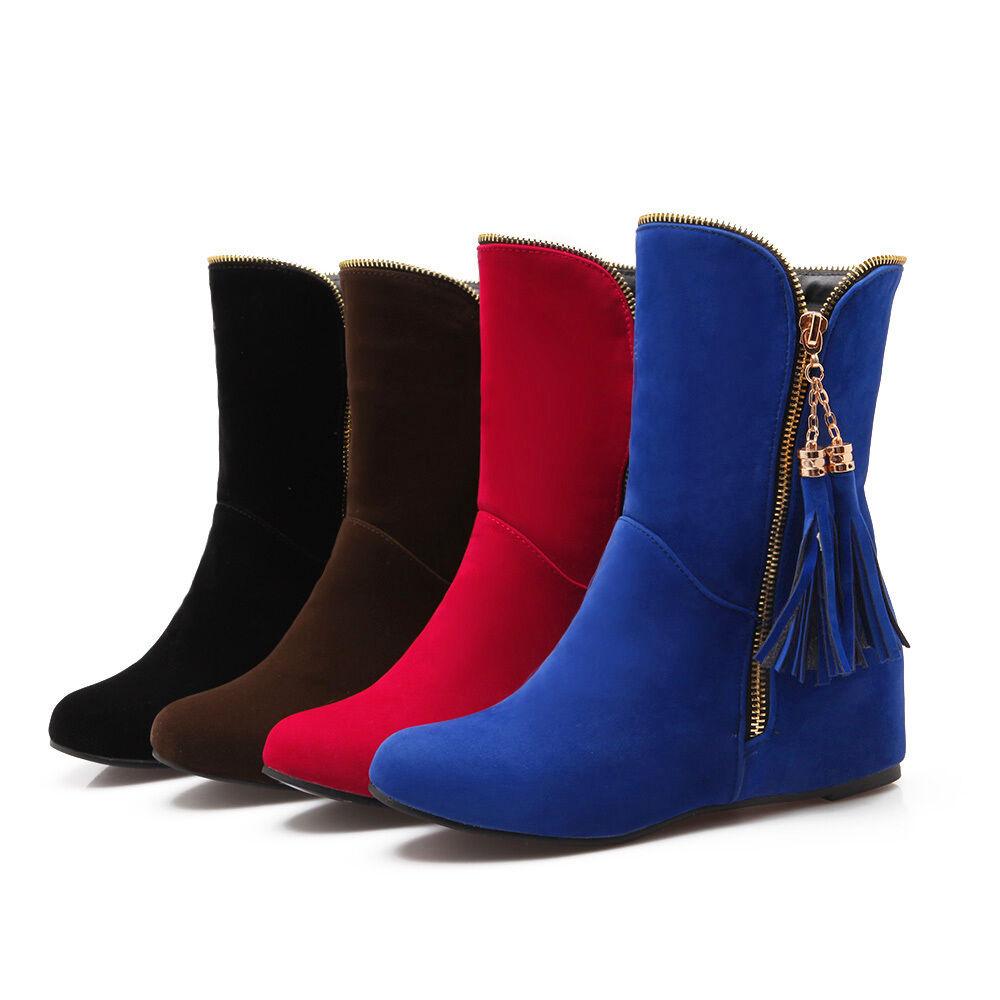 Women's Hidden Wedge Ankle Boots Tassel Side Zipper Roma Slouch shoes US Sz 10