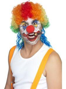 Clueless Le Clown Mulet Perruque Multi Couleur Arc-en-clown Perruque Robe Fantaisie Homme-afficher Le Titre D'origine