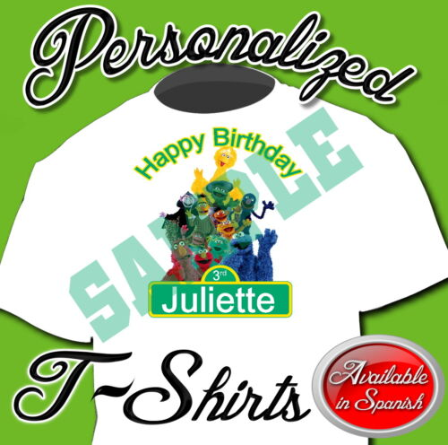 NEW CUSTOM PERSONALIZED SESAME STREET BIRTHDAY T SHIRT PARTY FAVOR ADD NAME