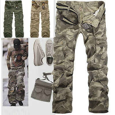 No Belt Men's Casual Military Army Cargo Camo Combat Work Pants Trousers R49
