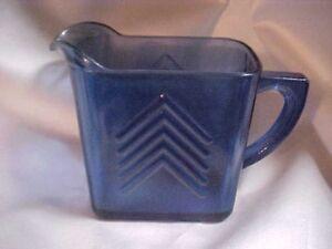 Hazel-Atlas-Cobalt-Blue-Glass-Chevron-Pattern-Cream-Pitcher