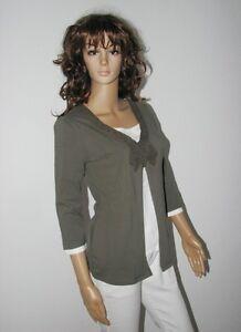 2in1 Shirt Bluse Pulli khaki Gr. 36 38 40 42 44 46 NEU *022*