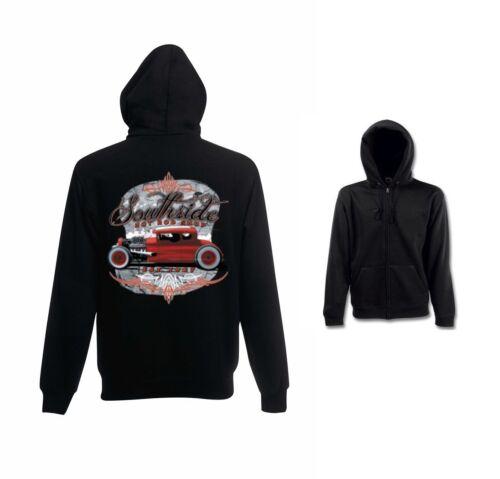 Sweatshirtjacke schwarz V8- Hot Rod-,US Car-/& `50 Stylemotiv Modell Southside