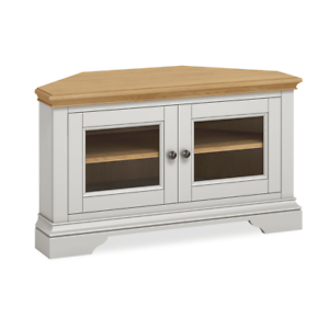 Details About Normandy Grey Corner Tv Stand Painted Media Unit With Gl Doors