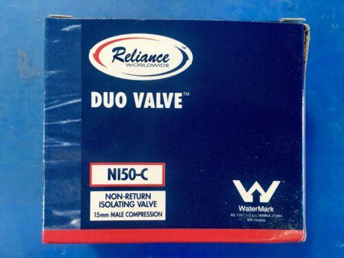 "RELIANCE 1//2"" RMC BRASS COMBINATION NON RETURN DUO VALVE NI50-C AUS POST X5"