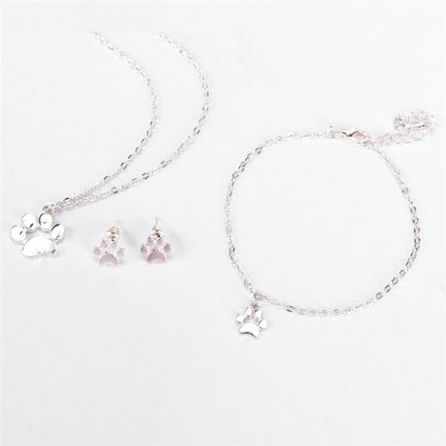 Dog Claws Foot Print Pendant Necklace Earrings Bracelet Jewelry Set Gift FO