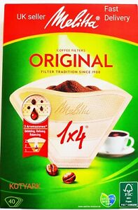 40 MELITTA ORIGINAL COFFEE FILTER PAPERS 1 x 4 CUP for aromatic coffee. Genuine