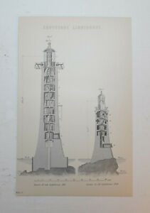 Original 1880 Lithograph. EDDYSTONE LIGHTHOUSE. Beautiful Condition.