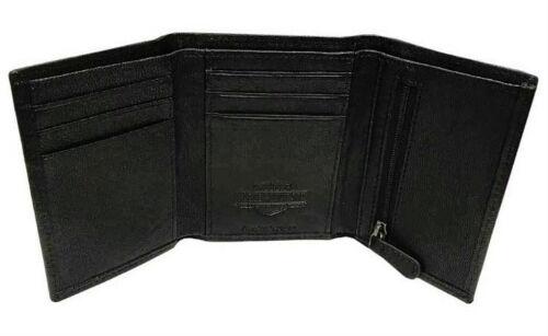 Harley-Davidson® Men/'s Black Leather Tri-Fold WalletID Window EE9052L-BLACK