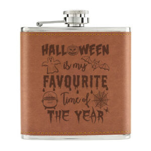 Halloween-Is-My-Prefere-Temps-De-L-039-Annee-170ml-Cuir-PU-Hip-Flasque-Brun-Fantome