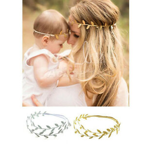 Mommy & Me Matching Leaf Headbands Hairband Set Gold Silver Mom Baby Shower Gift