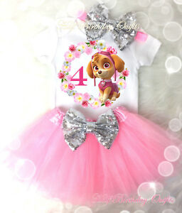 Image Is Loading Dog Puppy Pink Paw Silver Tutu Shirt Headband