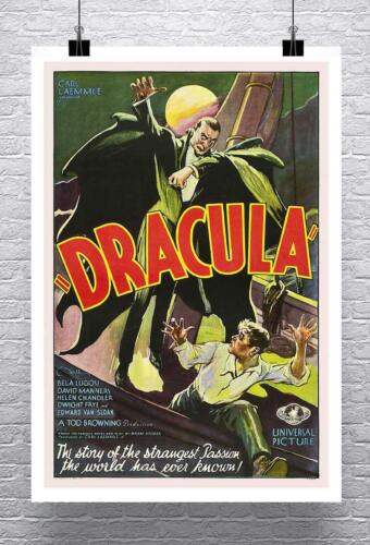 Dracula Vintage Horror Movie Poster Rolled Canvas Giclee Print 24x36 in.