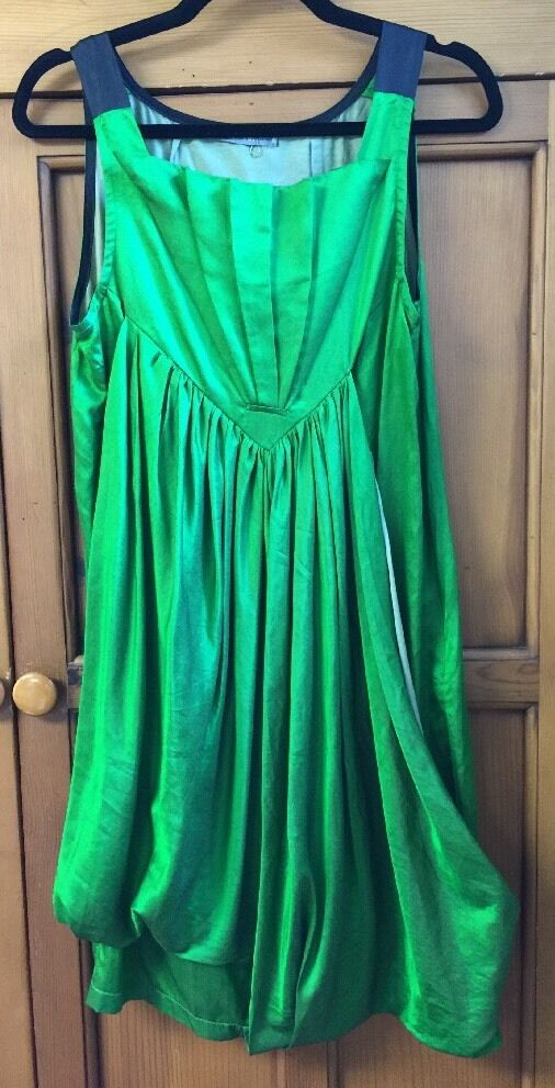 NWOT Marta Baron Short Green Silk Blend Dress size L Fits Like a Medium