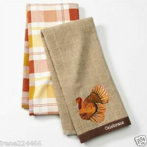Set/2 Embroidered Harvest Windowpane Turkey Kitchen Dish Towels 18x26 NWT $14