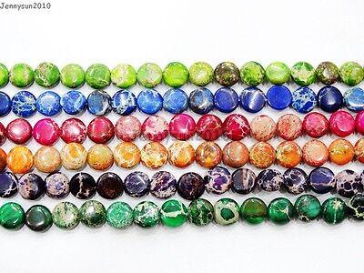 Natural Sea Sediment Jasper Gemstone Round Coin Loose Beads 16'' Strand 8mm 10mm