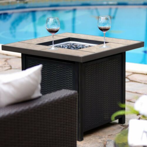 """32/"""" Propane Fire Pit Table Patio Heater Outdoor Gas Table Fireplace 50,000 BTU"""