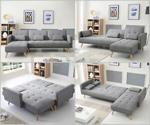 Details about Large Corner Sofa Bed 4 Seater Grey Settee Relax Couch  Vintage L Shaped Recliner