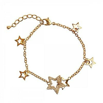 DSE 5087614 Entwined Star Bracelet Swarovski crystal /gold-plated Authentic MIB