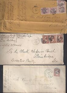 US 1880s THREE CLERK OF COURTS COVER CIRCLEVILLE OHIO LOUIVILLE KY CLINTSVILLE