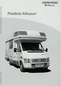 karmann missouri preisliste reisemobile 8 03 price list. Black Bedroom Furniture Sets. Home Design Ideas