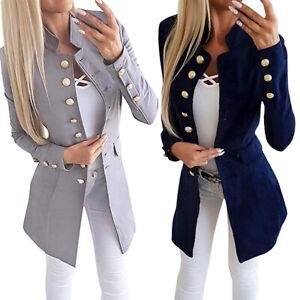 Femmes-Couleur-Unie-Slim-Revers-Veste-Blazer-Manches-Longues-Bouton-Costume