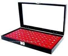 Glass Top Lid 72 Ring Red Jewelry Sales Display Box Storage Case Bonus Items