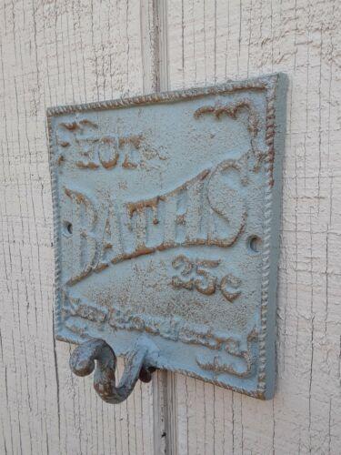 Rustic  Cast Iron Victorian Style HOT BATH Wall Plaque Coat Towel Hook