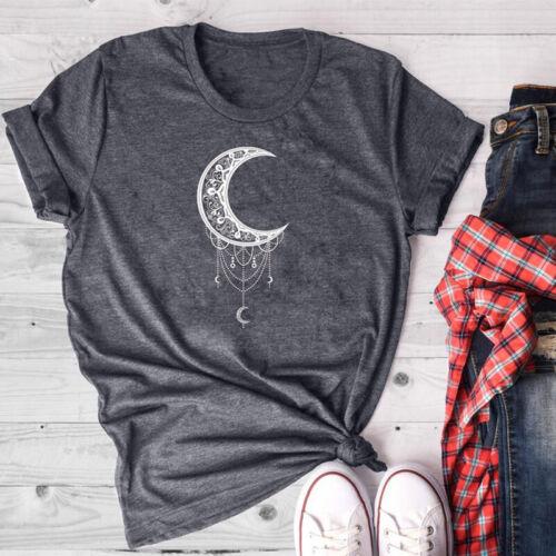 Women Summer Cute Gothic Short Sleeve Moon Graphic Print T-shirt Casual Tee Tops