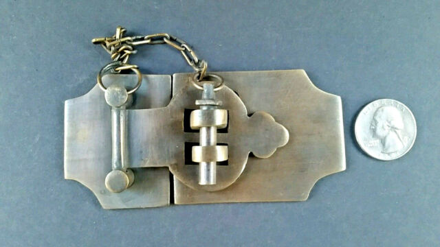 Small ant style Cabinet Jewelry Box Latch Swing Hook Solid Brass Hasp Lock #X16