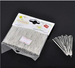 1 Packet(300PCs) Well Sorted Silver Plated Head Pins 4.5cm(1-3/4)-983
