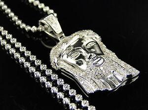 Sterling Silver Jesus Piece Real Diamond Pendant And Chain In White ... 974dafcf21e6