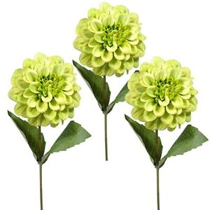 Set of 3 artificial zinnia flower stems lime green summer daisy image is loading set of 3 artificial zinnia flower stems lime mightylinksfo