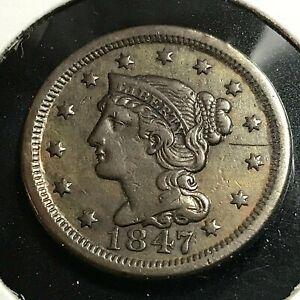 1847-LARGE-CENT-BRAIDED-HAIR-HEAD-NICE-COIN