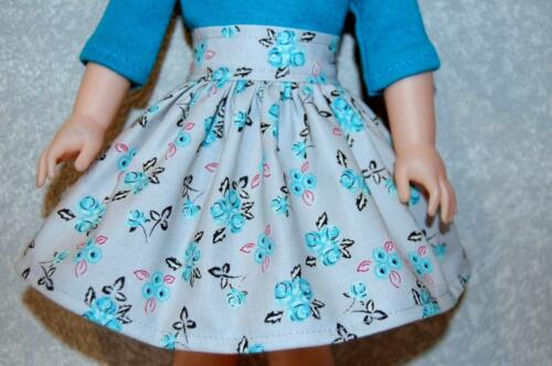 "Gray Skirt set for 14.5/"" Wellie Wishers Doll Clothes TKCT handmade Gray//Blue"