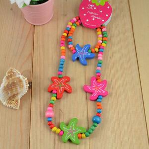1 Set Cute Girls Multicolor Starfish Wood Beads Necklace&Bracelet Set Gift