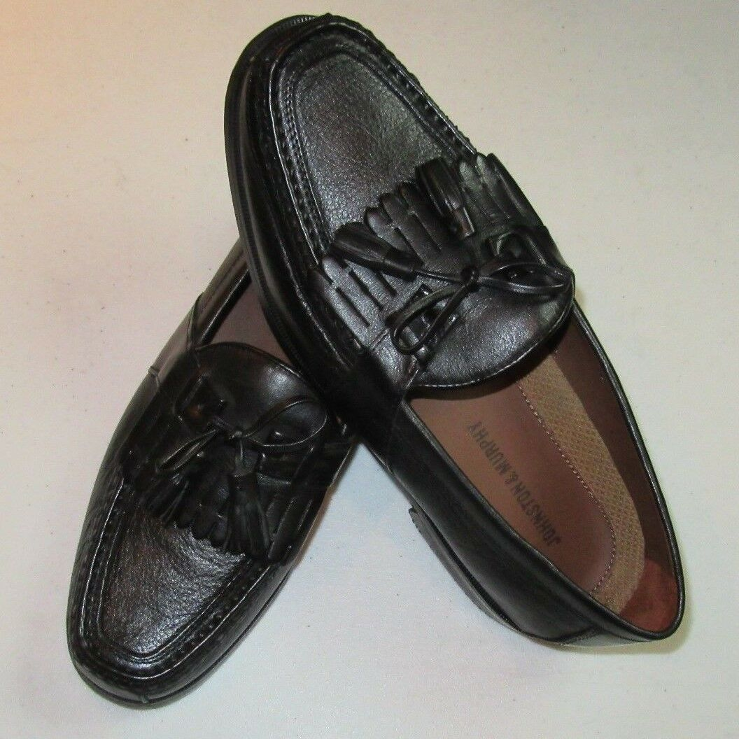 148 New in box Johnston & Murphy leather Aragon II solid Black shoes 11.5 D