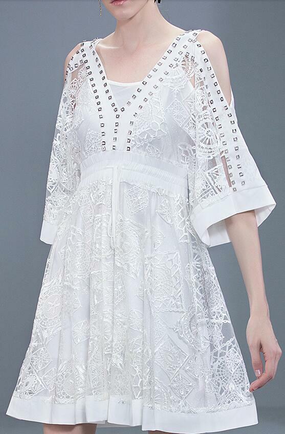 Kvinnor sommar kort Slieve Off The Shoulder Rhinestones Elegant Western Dress XL