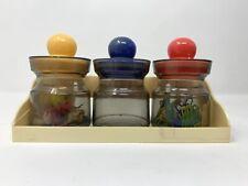 Vintage Plastic Set Of 3 Jars Desk Organizer Office Storage With Holder Hong Kong