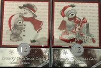 Pack Of 12 Luxury Christmas Cards & Envelopes 2 Designs - Cute Christmas Teddy