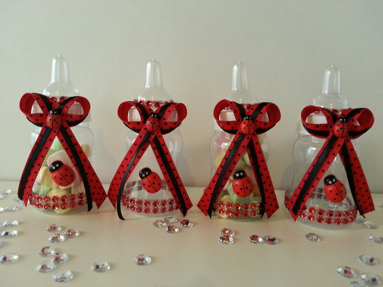 12 ladybug pacifier necklaces for games prizes favors baby shower