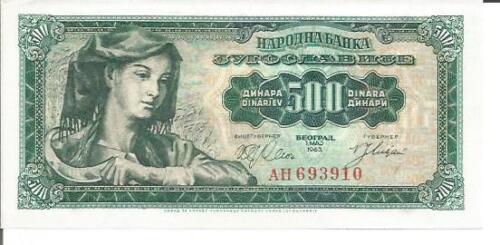 UNC CONDITION YUGOSLAVIA 500 DINARA 1963  P 74