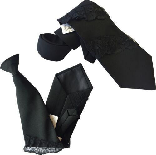 Kookai Black Ladies Waitress Lace Rouch Tie or Clip On Tie