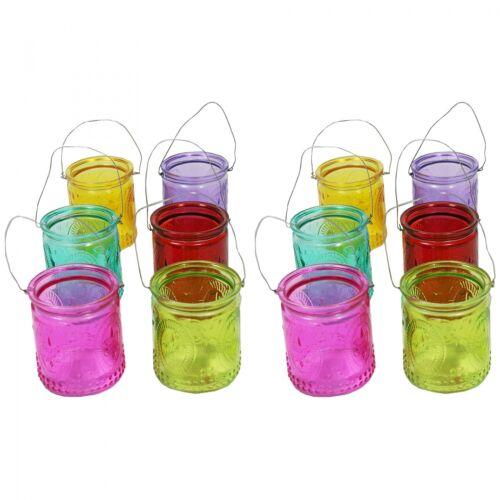 12 Stück Windlichter mit Henkel Windlicht Teelichthalter Teelichgläser Tischdeko