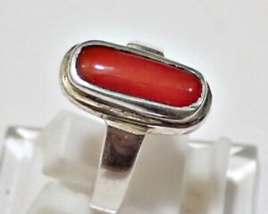 VINTAGE-ANTIQUE-SILVER-RING-BAND-WITH-CORAL-RED-STONE-FABULOUS-MEN-039-S-RING