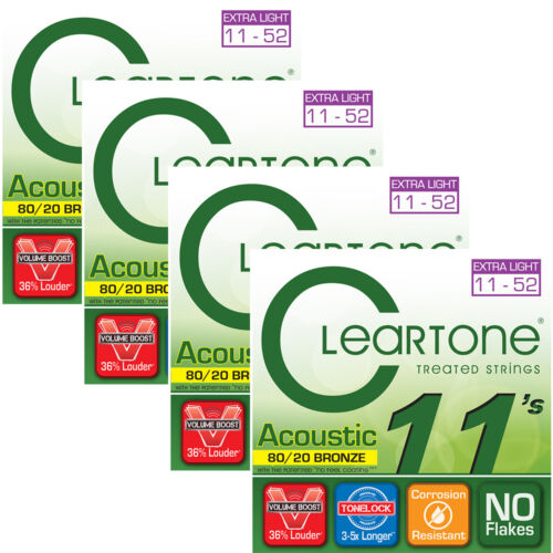 11-52 4 Sets of Cleartone 7611 Acoustic Guitar Strings 80//20 Bronze