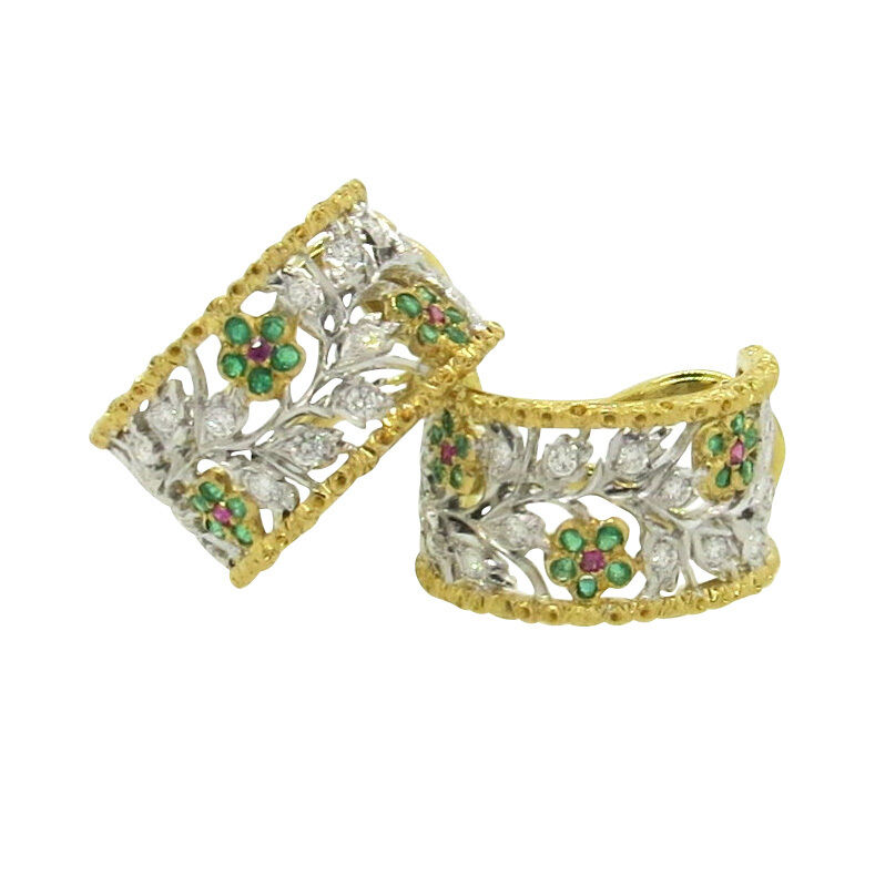 Buccellati 18k Two color gold Diamond Emerald Ruby Hoop Flower Earrings